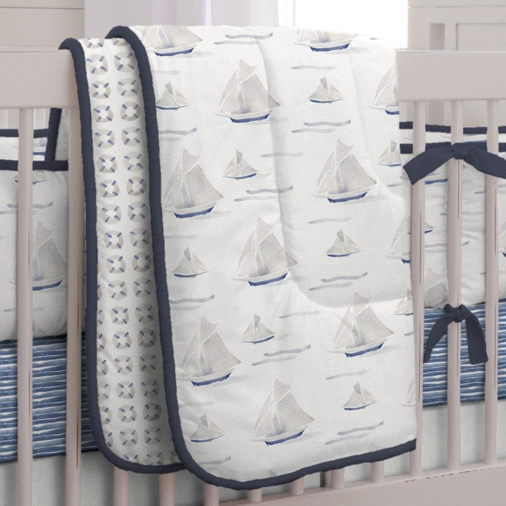 Carousel Designs Blue Ocean Sailboats Crib Comforter