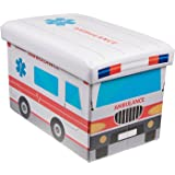 Ambulance Collapsible Storage Organizer by Clever Creations | Storage Box Folding Storage Ottoman for Your Bedroom | Perfect Size Storage Chest for Books, Shoes & Games