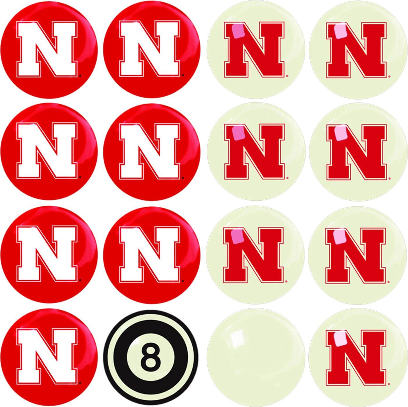 Imperial Officially Licensed NCAA Merchandise: Home vs. Away Billiard/Pool Balls, Complete 16 Ball Set, Nebraska Cornhuskers