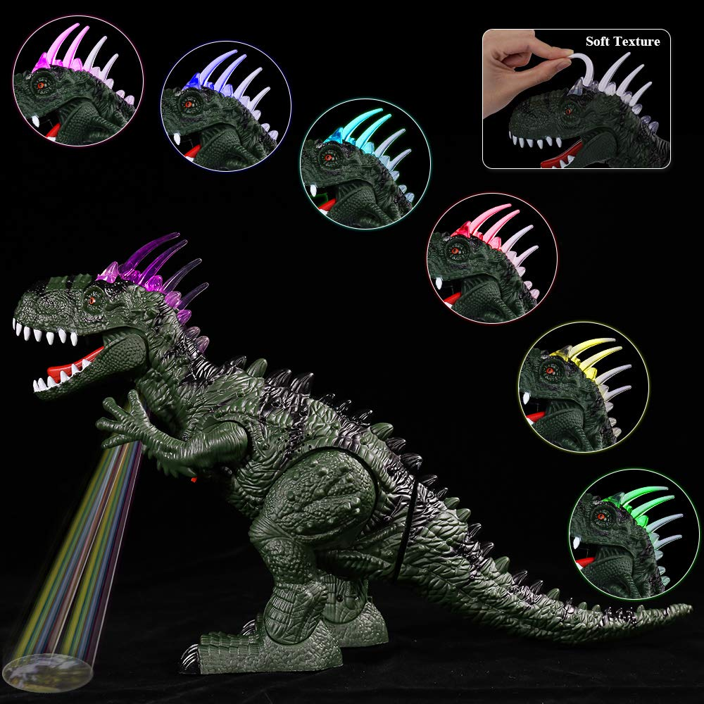 TEMI Electronic Walking Dinosaur LED Light Up Toys for Kids Boys Girls, Jurassic Green Tyrannosaurus T Rex Battery Powered Velociraptor Dragon Model w/ Sounds and Projection Lights, Laying Eggs by TEMI (Image #2)
