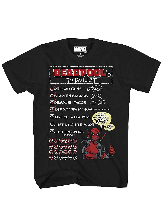 Marvel Deadpools To Do List Adult S Tshirt Black