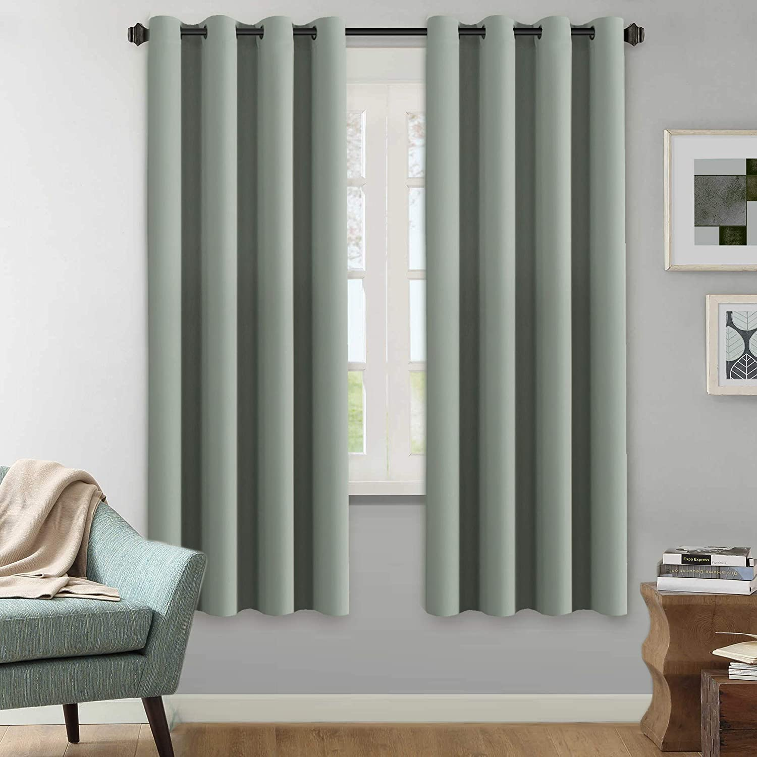 H.VERSAILTEX Winter Season Thermal Insulated Nickel Grommet Blackout Curtains/Draperies for Bedroom/Living Room – 2 Panels Set – 52×72 Inch – Solid Sage Pattern
