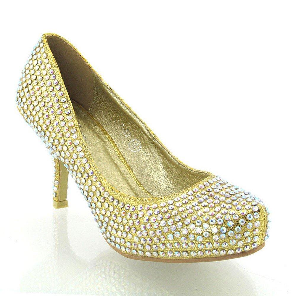 6659f1a2d10 Fashion Footwear WOMENS GLITTER DIAMANTE KITTEN MID PLATFORM BRIDAL WEDDING  PROM PARTY SHOE SIZE 3 4 5 6 7 8 (UK 3 EU 36