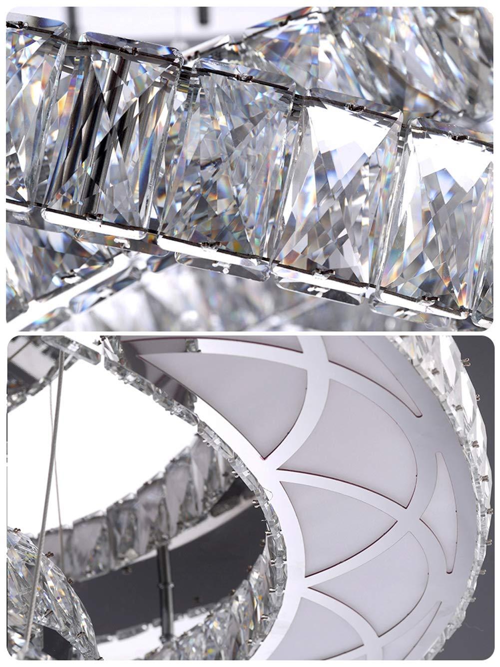 L/ámpara De Ara/ña Con Anillo De Cristal LED 3 Llamas L/ámpara De Techo L/ámpara De Luz Regulable Con Control Remoto L/ámpara De Sala De Estar Moderna L/ámpara De Restaurante Acero Inoxidable /Ø60cm H30CM