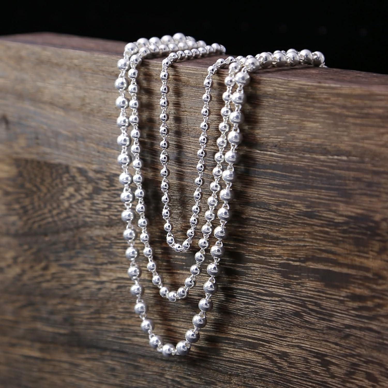 Daesar 925 Sterling Silver Necklace for Men Women Necklace Chain Round Ball Silver Necklace Pendant