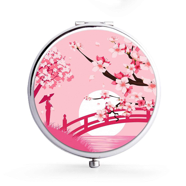 XIANN Mirror Makeup Mini Mirror Handhold Double Side Compact Travel Mirrors - Cherry Blossom Bridge