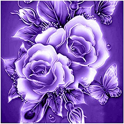 C Retro Rose Flower 5D Diamond Painting Kit Partial Drill Rhinestone Embroidery Diamond Dotz Wall Picture Home Decor 12 x 12 Inch //30x 30cm