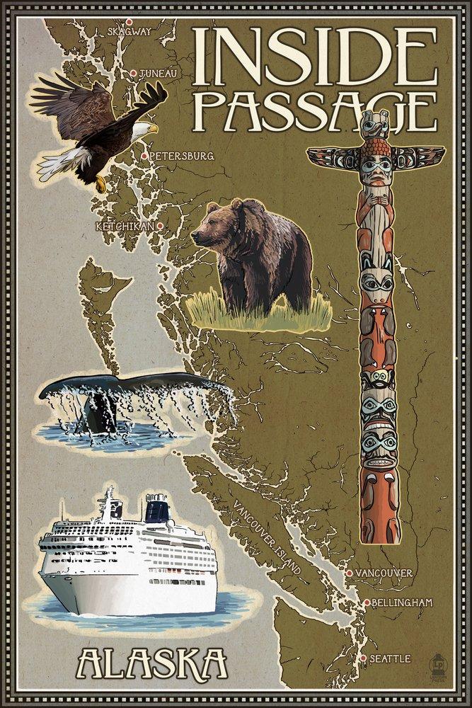 Alaska's Inside Passage Map (12x18 Art Print, Wall Decor Travel Poster)