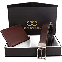 Amicraft Men's Combo Pack of Wallet and Belt (Brown, Free Size)