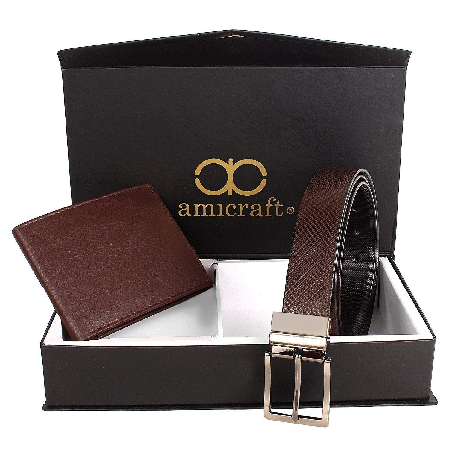 Amicraft Men's Combo of Wallet & Free Size Belt (Brown)