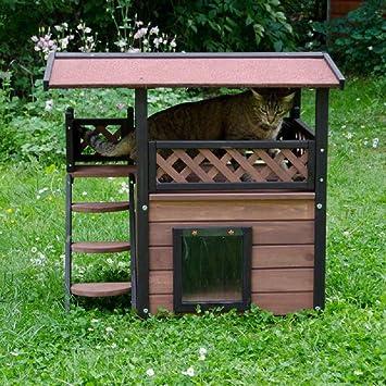 Casa de madera de exterior para gato, con terraza y techo para dormir una siesta