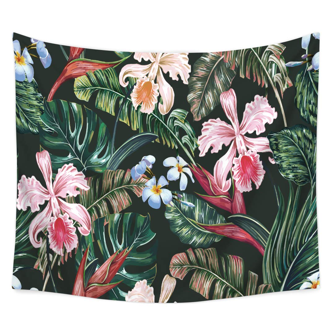 QCWN Tropical Jungle Tapestry Banana Palm Tree Leaf Plants Cactus and Flamingo Themed Print Wall Hanging for Bedroom Living Room Dorm Home Decor Art (8, 59Wx51L)