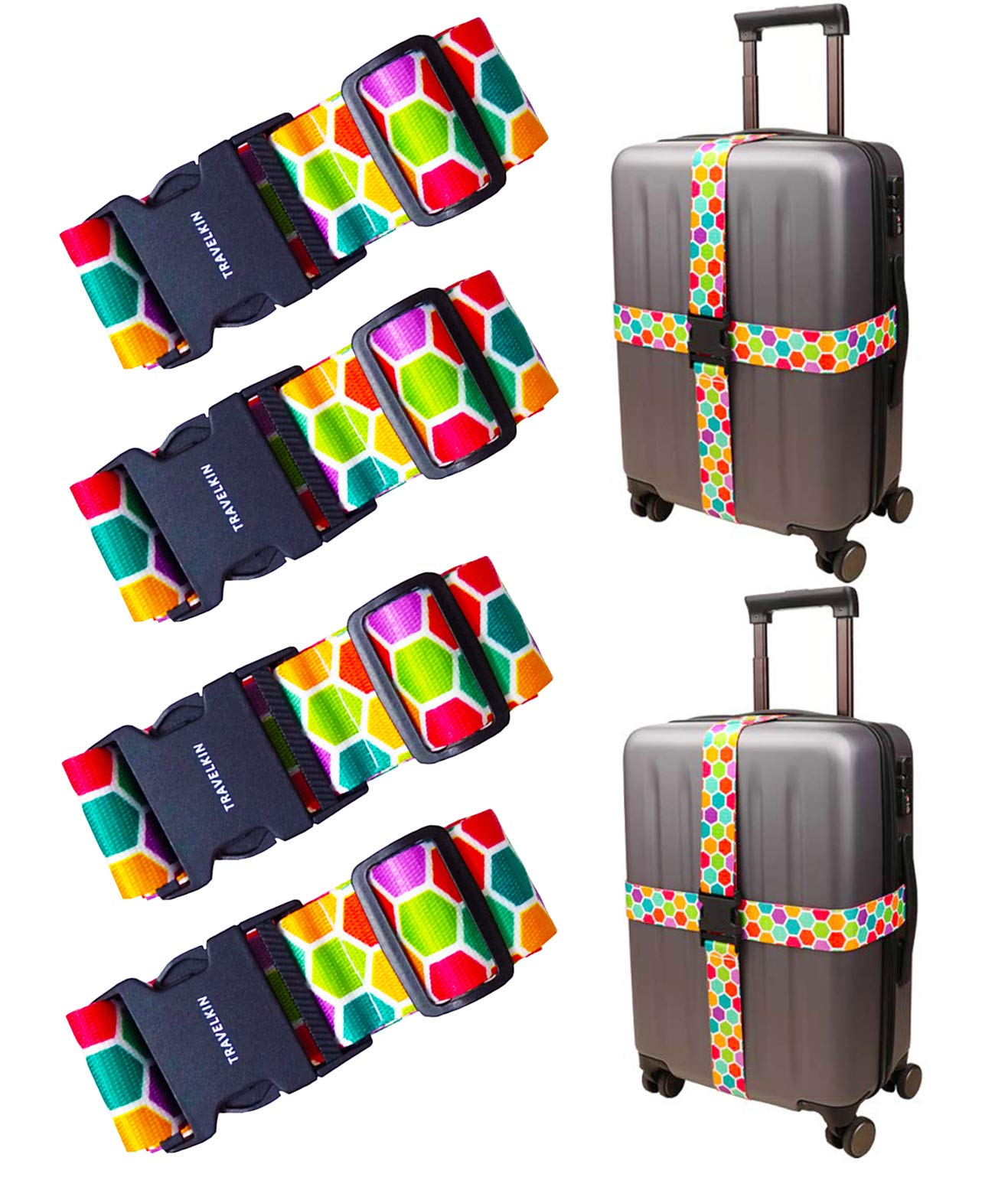 Luggage Straps Adjustable Travel Suitcase Belt Travel Baggage Accessories 4 Pack by Lucky Xiang