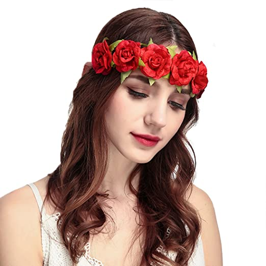 Floral Fall Red Rose Flower Headband Garland Boho Hair Crown Head Band  Festival HD-13 2b320fe8890