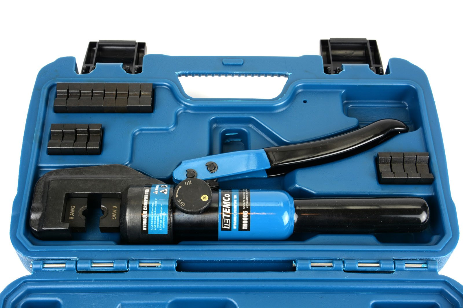 Temco Hydraulic Cable Lug Crimper TH0006-5 US TON 12 AWG to 00 (2/0) Electrical Terminal Cable Wire Tool Kit 5 YEAR WARRANTY by Temco (Image #7)
