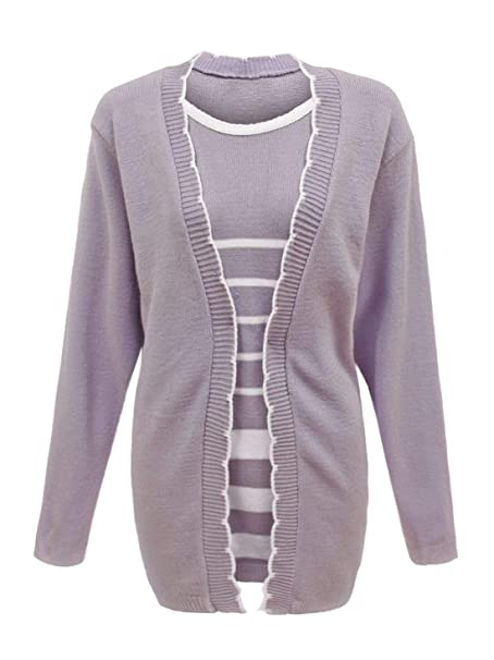 41f202af1cf Twin Set Striped Knitted Jumper Top Womens Plus Size Crew Neck Casual  Cardigan  Amazon.co.uk  Clothing