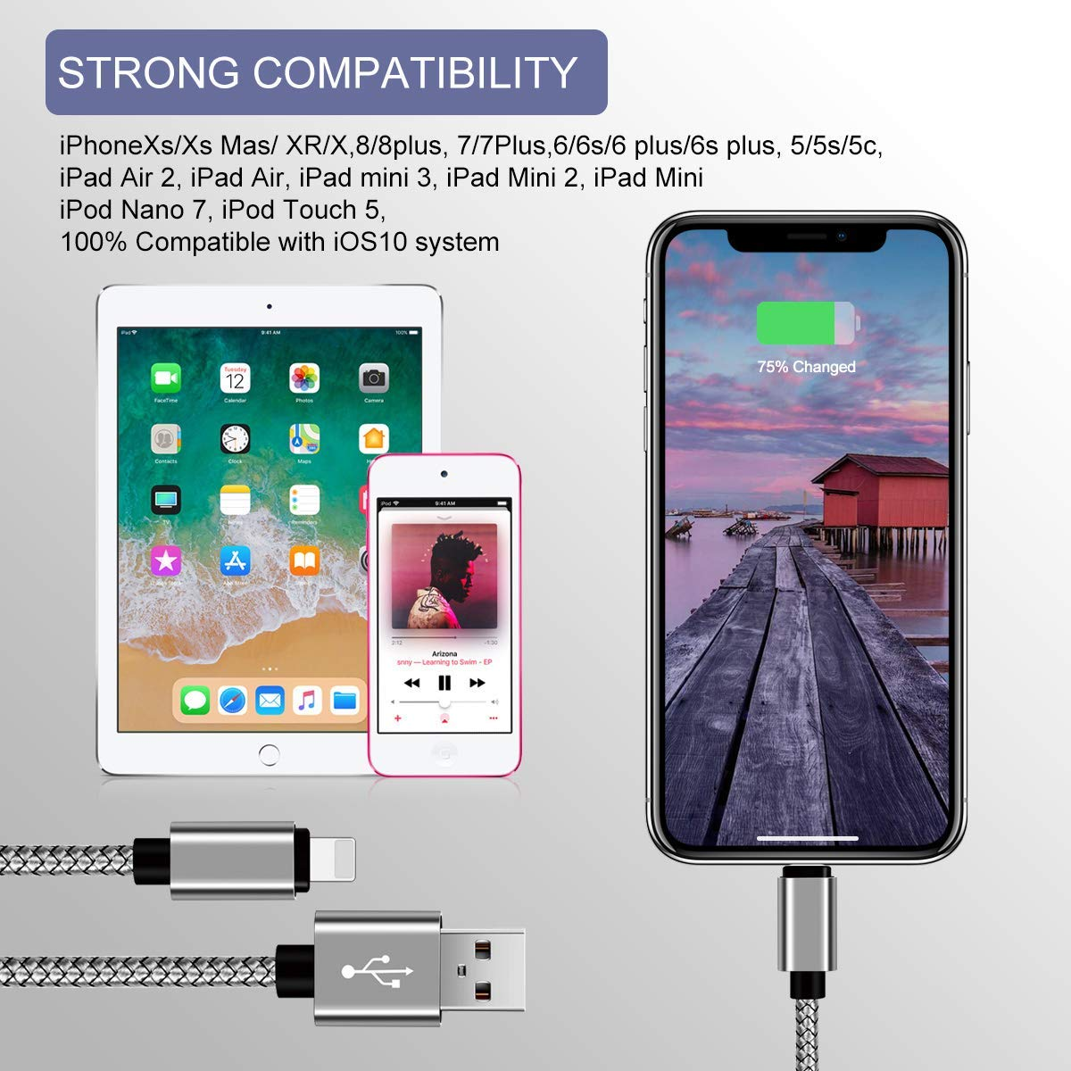 MFi Certified iPhone Charger Lightning Cable 5Pack[3/3/6/6/10FT] Extra Long Nylon Braided USB Charging & Syncing Cord Compatible iPhone ...