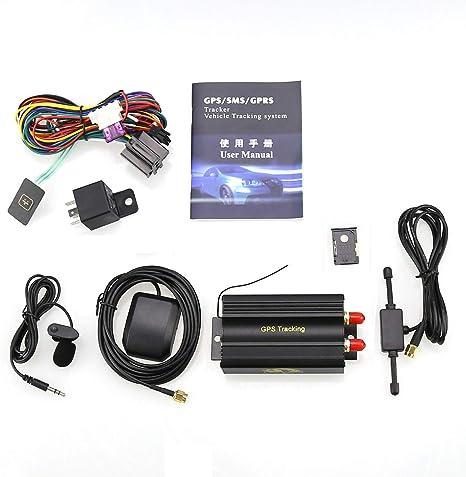 TK103A - Rastreador GPS para Coche con Alarma antirrobo para GPS y gsm/SMS, con Ranura para Tarjeta SD: Amazon.es: Electrónica