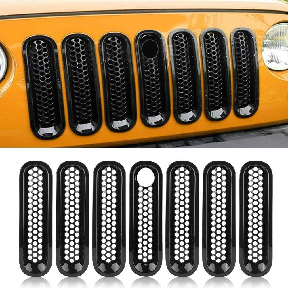 Rejilla De Malla Delantera De 7 Piezas Para Jeep Wrangler Rubicon Sahara Jk 08-17