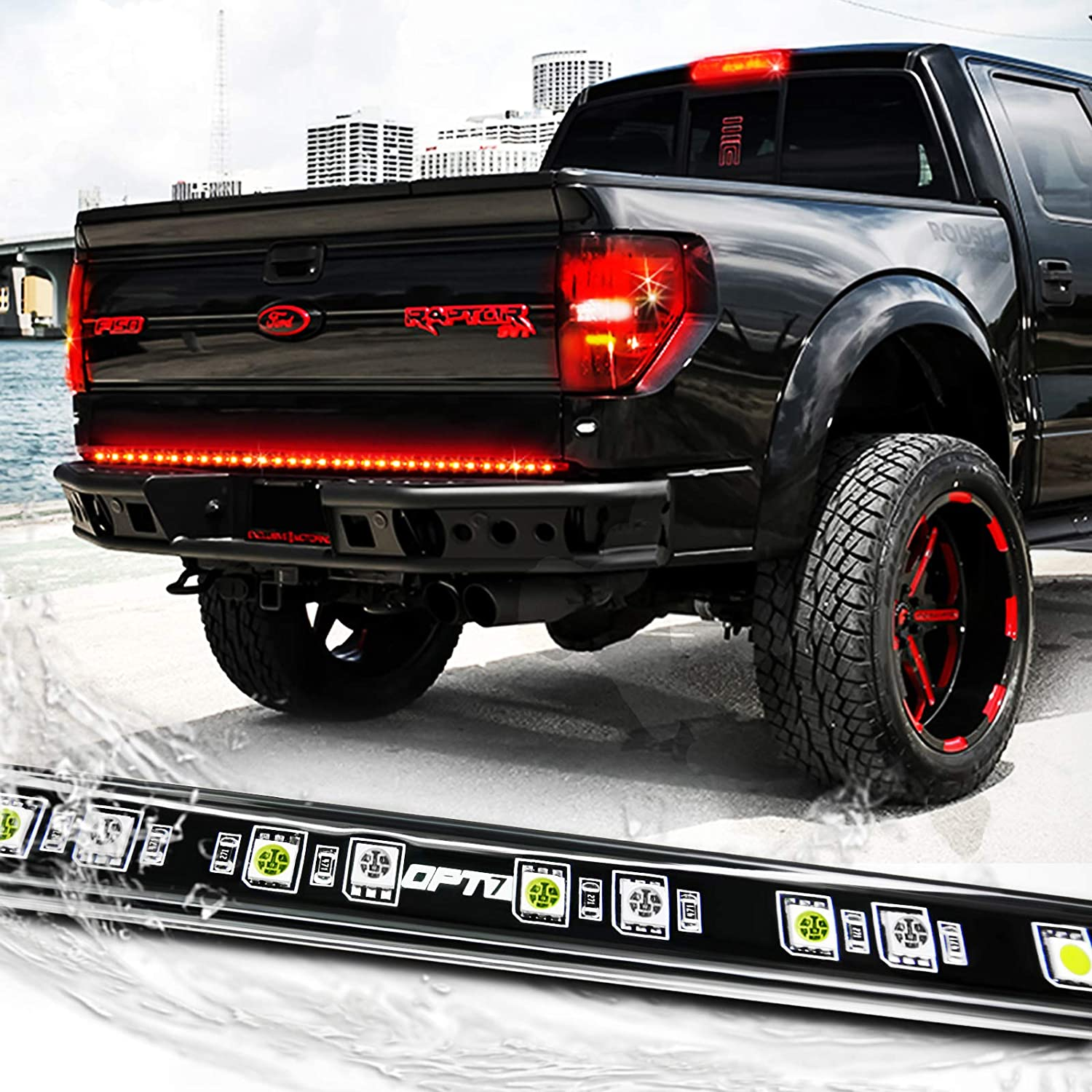 Reverse Lights for Pickup Truck SUV RV 60 inch red turn signals No Drill Install Red Turn Signal Full Function-Brake//Running ALUMINUM CASING OPL5 Triple LED Tailgate Light Bar 60 inch Waterproof