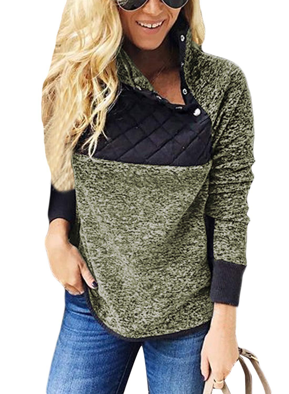 AlvaQ Womens Ladies Oversized Fuzzy Fluffy Fleece Winter Fall Long Sleeve Fleece Sweater Pullover Sweatshirts Pockets Outwear Green Small