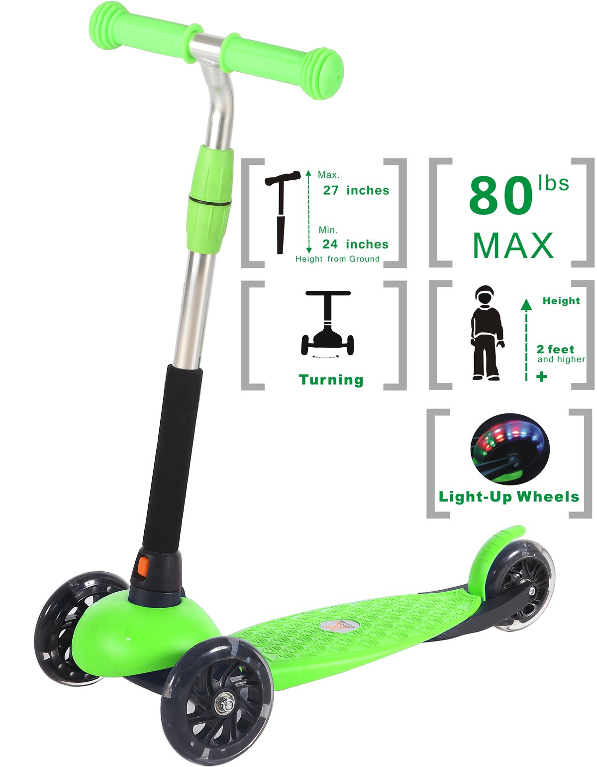 Voyage Sports Kick Scooter for Kids Ages 2- 6 , Kids Scooter , 3 Wheel Scooter for Boys and Girls , Adjustable Height T-bar Handle (Green)