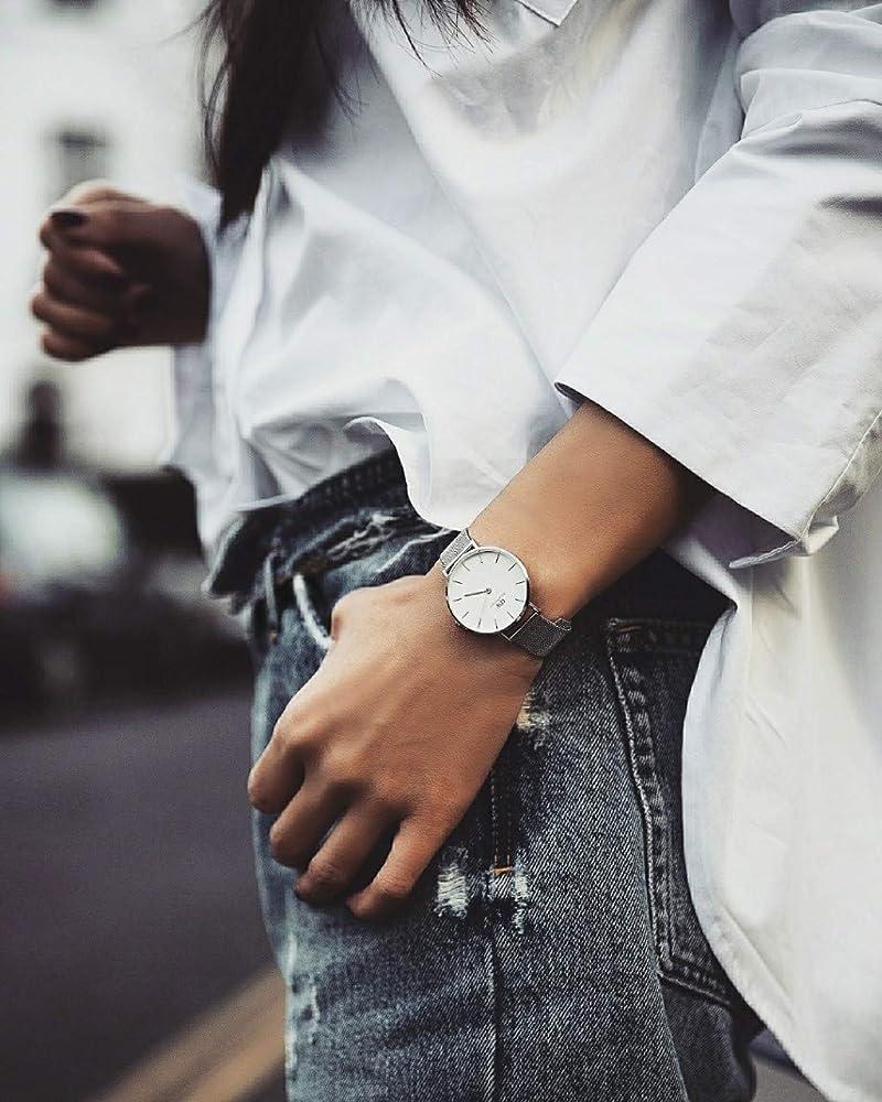 Daniel Wellington DW00100164 - Reloj de pulsera de cuarzo para Mujer, con correa de malla plateada: Amazon.es: Relojes