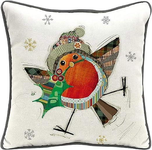 Amazon Com Bug Art Christmas Kooks Decorations Range Cushions Snack Trays Tree Decs Cushion Robin Home Kitchen