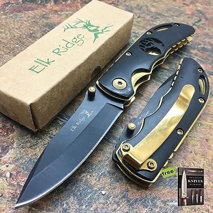 Amazon.com: Elk Ridge - Cuchillo pequeño plegable, diseño de ...