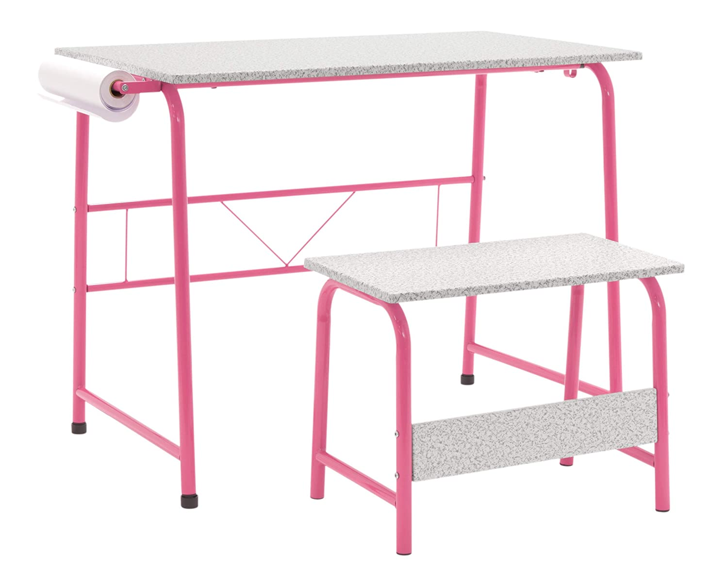 Magnificent Sd Studio Designs Project Center 55125 Craft Table Play Desk With Bench Pink Gray Gmtry Best Dining Table And Chair Ideas Images Gmtryco