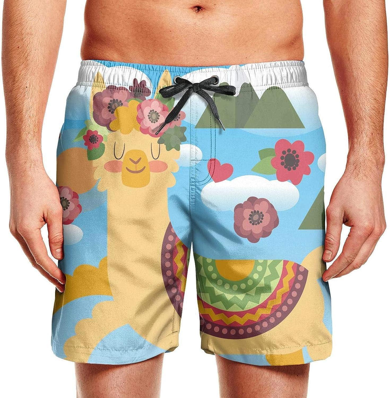 Happy Camper Mens Board Shorts Swim Mesh Lining and Side Pocket