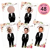 MORDUN Floral Bridal Shower Games - Who Has The Groom Scratch Off Celebrity Cards Tickets for 48 Guests - Funny…