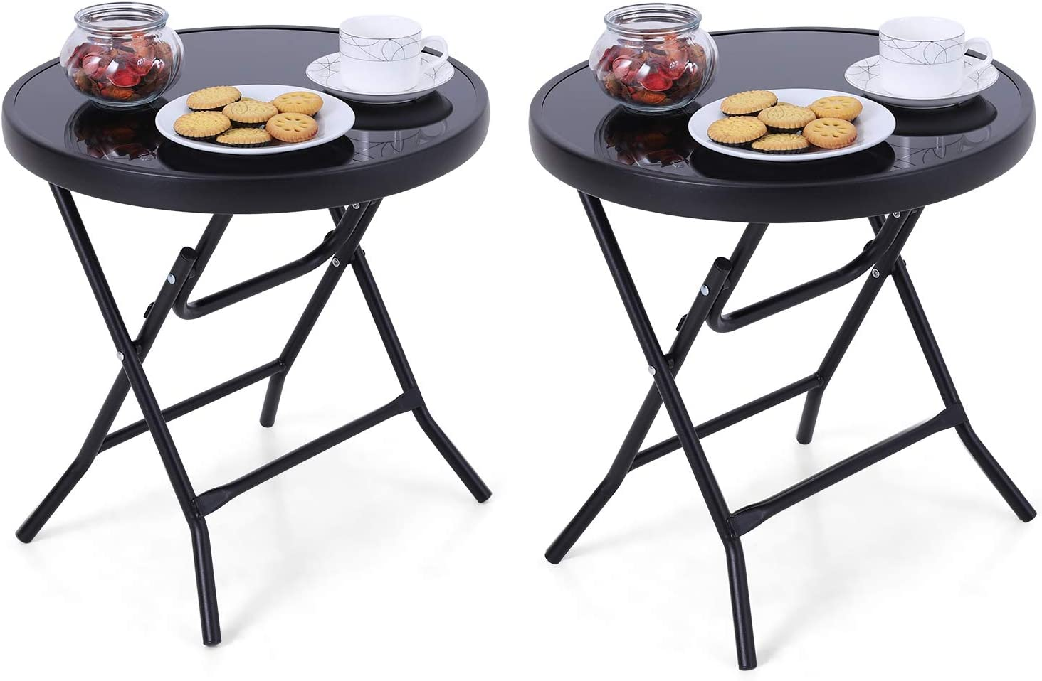 18 inches Black Sophia /& William Patio Folding Side Table Round Set of 2 Printed End Table Small Portable Bistro Coffee Table with Tempered Glass Top and Metal Frame for Outdoor and Indoor