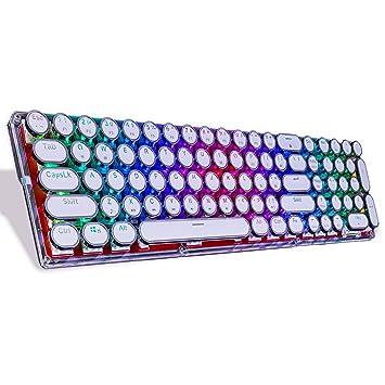 LinDon-Tech Teclado mecánico Bluetooth con retroiluminación RGB, Teclado mecánico de Cristal, Teclas de Estilo Retro Vintage Estilo máquina de Escribir: ...