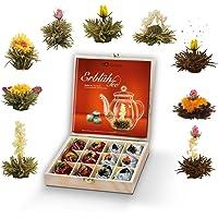 Creano thee bloemen geschenkstel in houten theekist, 12 bloeiende theesoorten in 9 soorten witte & zwarte thee