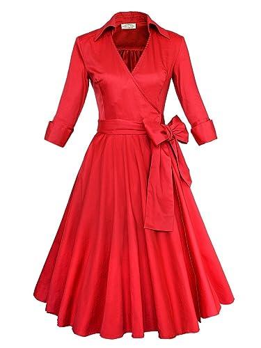 Babyonline 3/4 Sleeve Classy V Neck Audrey Hepburn Style 1940's Rockabilly Dress