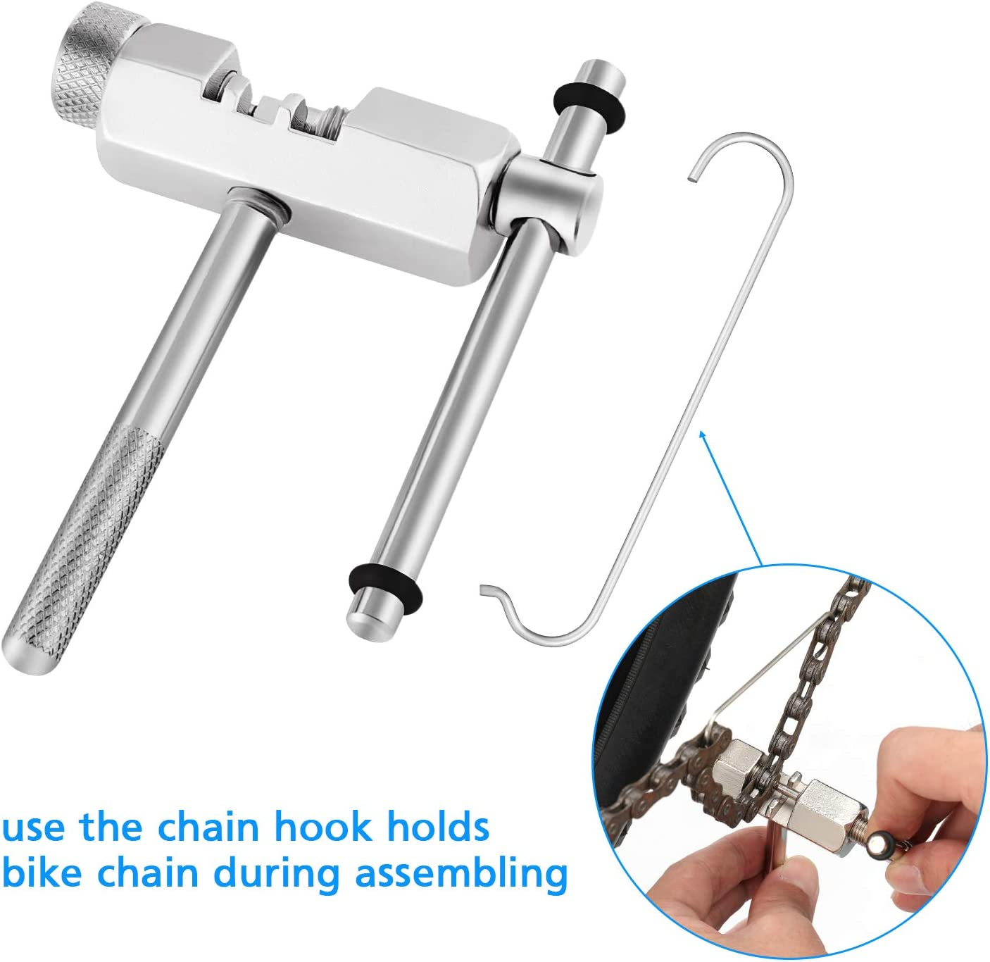 isinlive Multi-Function Bike Mechanic Repair Kit 8 Speed Chain Chain Breaker and Chain Checker Include 2 Pairs Bicycle Missing Link for 6 Reusable 7