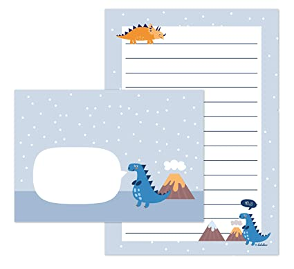 Dinosaurios de Juego de papel de cartas para niños: 25 hojas de formato DIN A5, a rayas + 10 sobres (Joven OD. Chica, Azul/Naranja)