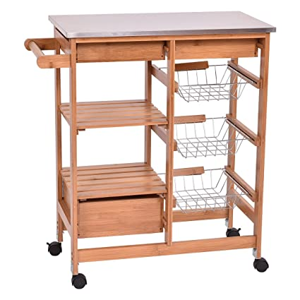Giantex Bamboo Rolling Kitchen Island Trolley Cart Storage Shelf Drawers  Basket Dining