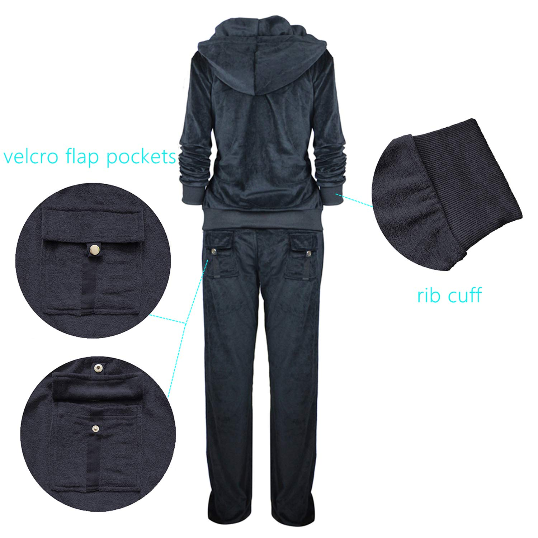 3f019f7223270 TanBridge Women Velour Tracksuit Set 2 Piece Outfit Hoodie & Sweatpants  Jogger Sets Black 3XL at Amazon Women's Clothing store:
