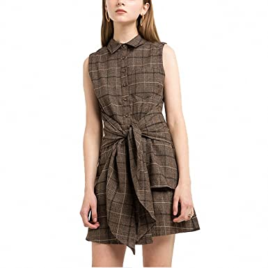 Brown Plaid Casual Mini Dress Women Clothing Tie Waist Vintage Female Vestidos Preppy Chic Summer Shirt