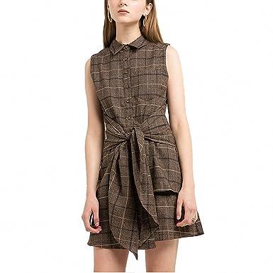 Brown Plaid Casual Mini Dress Women Clothing Tie Waist Vintage Female Vestidos Preppy Chic Summer Shirt