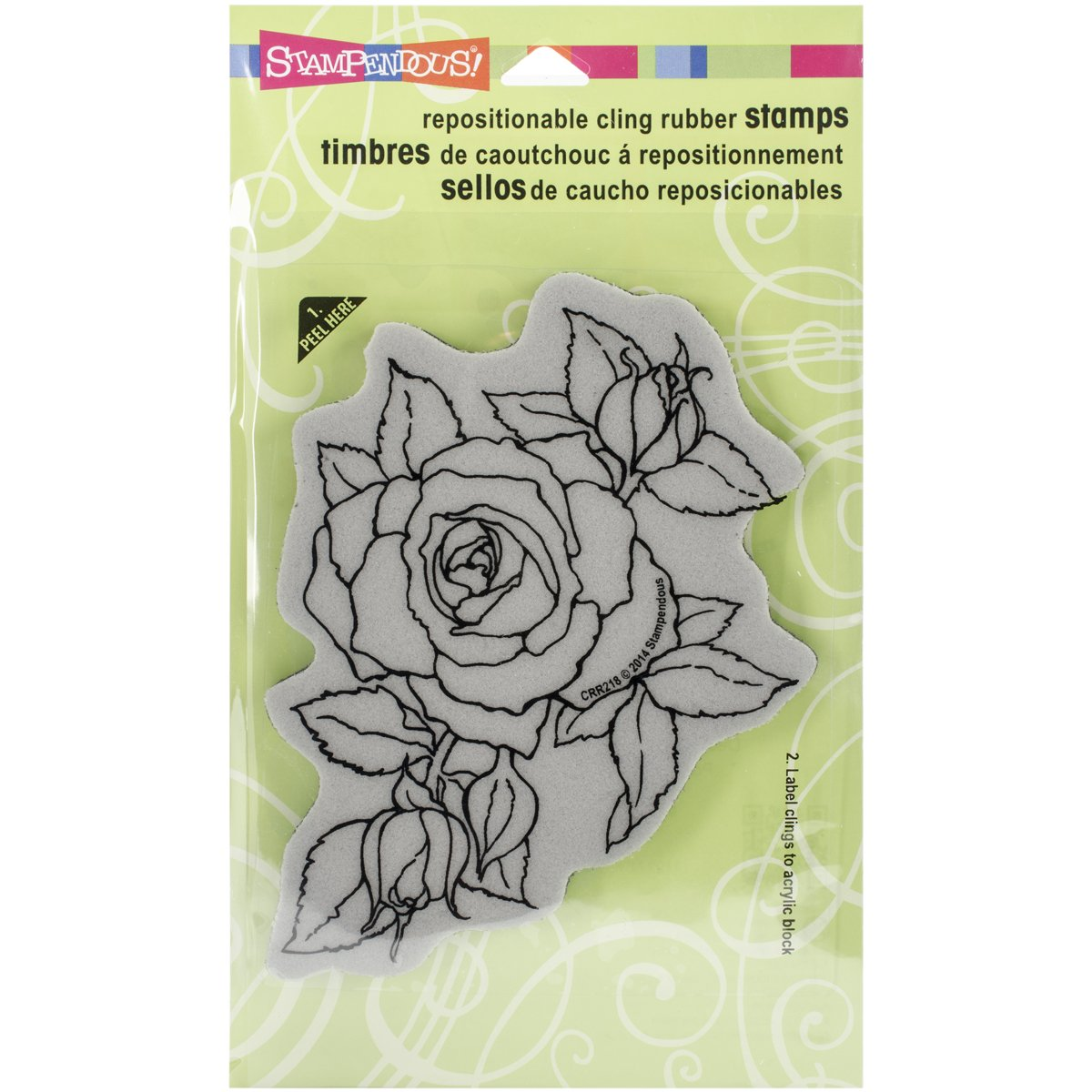 STAMPENDOUS CRR218 Cling Rubber Stamp, Timeless Rose Inc.
