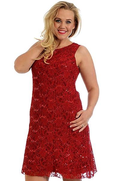 0ab5b1a0090a Nouvelle - Tallas grandes mujer vestido de encaje con lentejuelas fiesta  noche rojo, tallas 44-46, color rojo: Amazon.es: Ropa y accesorios