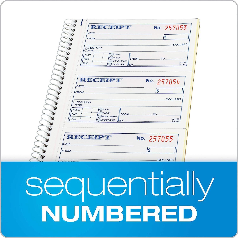- 1 5-1//4 x 11 4 Receipts per Page Spiral Bound 200 Sets per Book Adams Money and Rent Receipt Book SC1152 2-Part Carbonless
