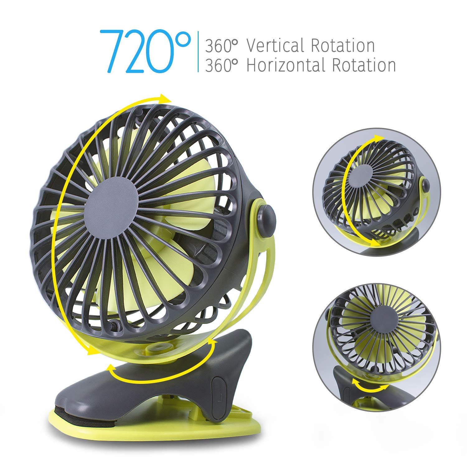 Treadmill, Car Seat Gym Green HALLO Gontar Clip-on Stroller Fan 4400 mAh Rechargeable Lithium Battery /& USB Cable 360/°Rotation Adjustable Speed-Operated Accessory for Baby Travel