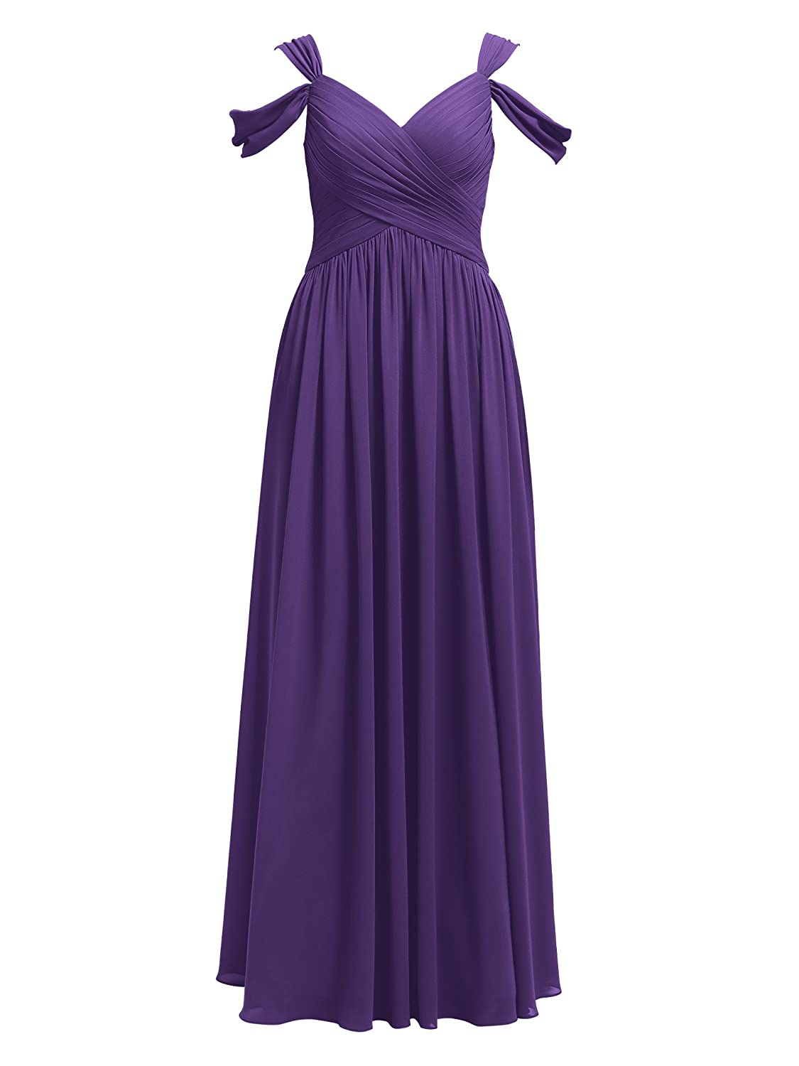 Alicepub Pleated Chiffon Maxi Bridesmaid Dress Long Bridal Party Evening Dresses