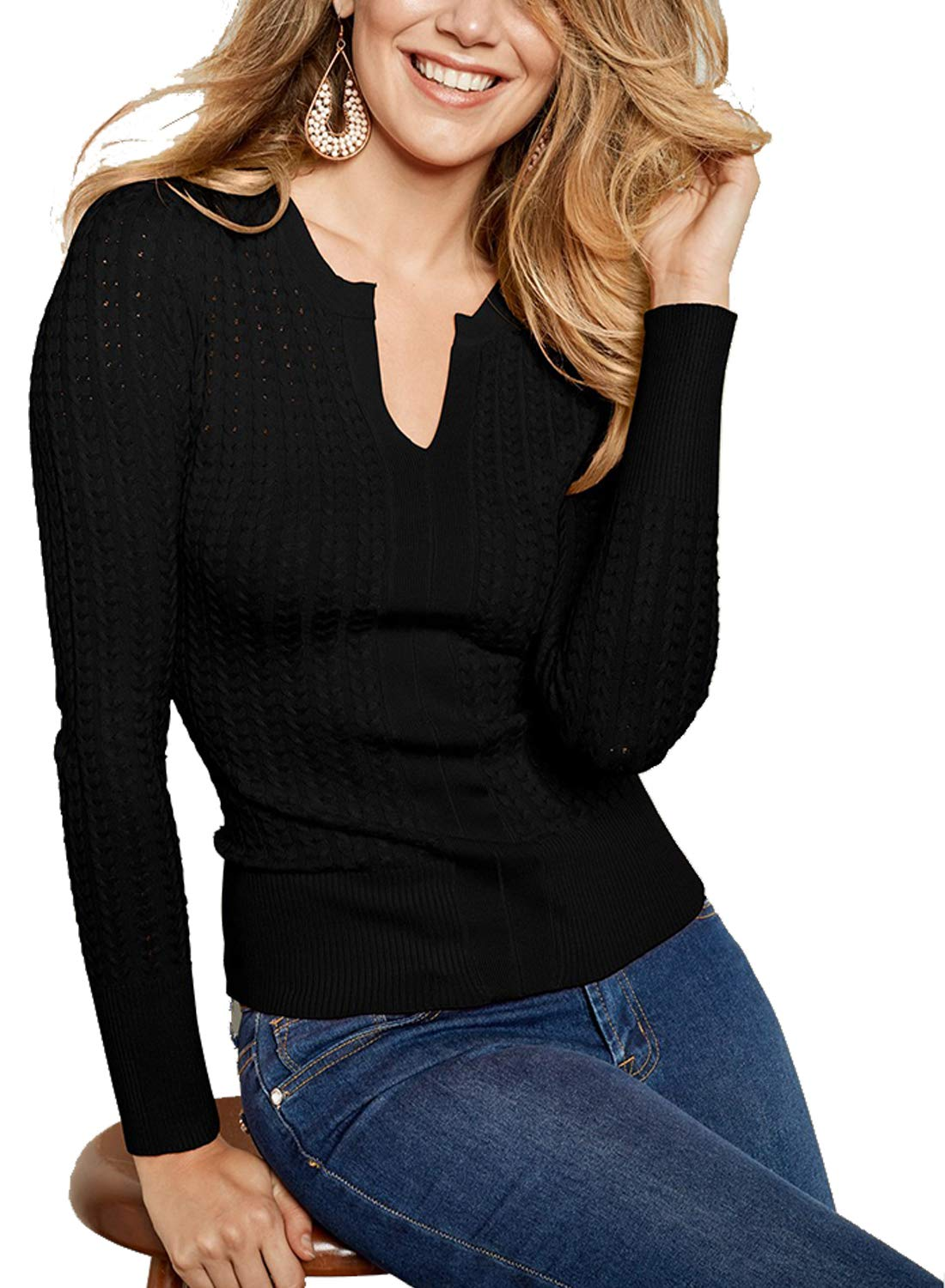 ZKESS Womens Long Sleeve Casual Henley Tops Knit Ribbed Thermal Fitted Sweatshirts Sweater Black Medium Size