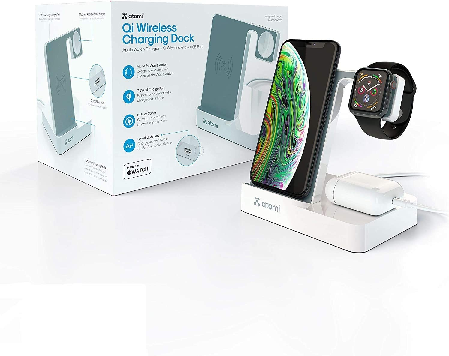 Atomi iPhone Charging Dock + Apple Watch Charging Stand - Qi Wireless Charging for Devices with a Lightning Connector, Including iPhone Xs, XS Max, XR, X, 8, 8 Plus, Apple Watch Series 1-5 - White