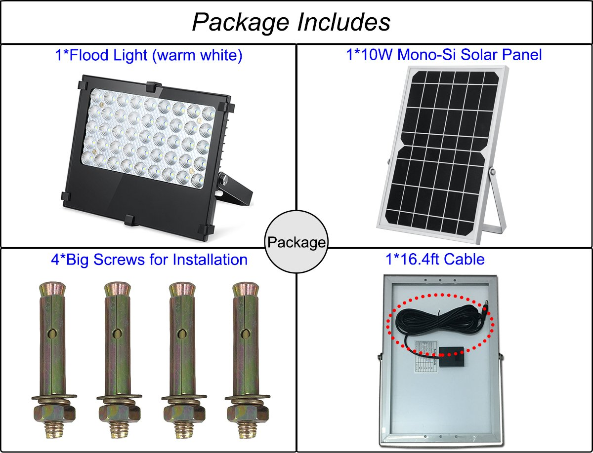 SunBonar Solar Flood Light 1000 Lumens Auto ON Off Solar Lights Outdoor for Backyard Garden Patio House Garage Court Billboard Pool Shenzhen Bonar Technology Co Ltd